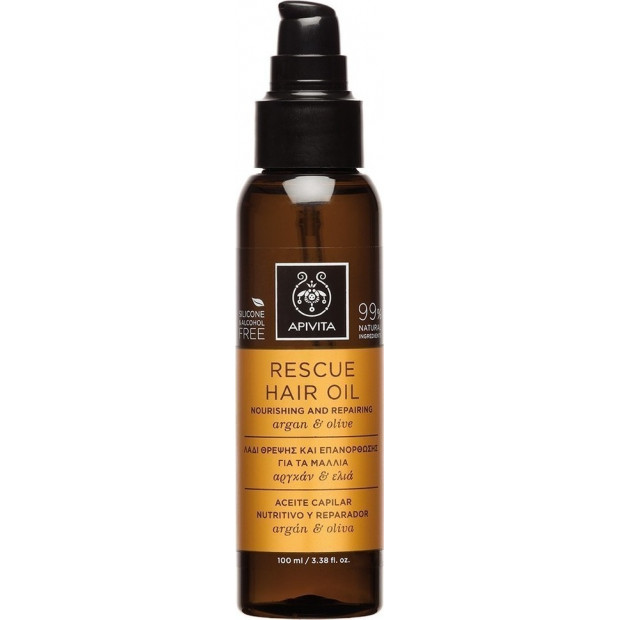 APIVITA - Holistic Hair Care Rescue Hair Oil - For all hair types with Argan & Olive, 100ml